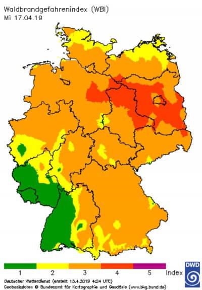 Waldbrandgefahrenindex @ https://www.dwd.de