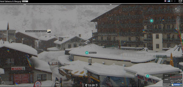 Starker Schneefall in Obergurgl am Palmsonntag