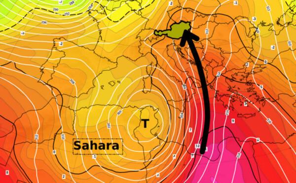 Beispielhafte Wetterlage - Temperatur und Druckverteilung in etwa 3 km Höhe © NOAA, UBIMET
