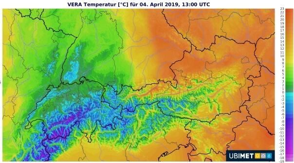 Zweigteiltes Land - Temperaturen am Donnerstagnachmittag
