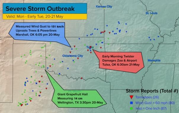 Die Meldungen von Hagel, Böen über 97 km/h und Tornados. © UBIMET