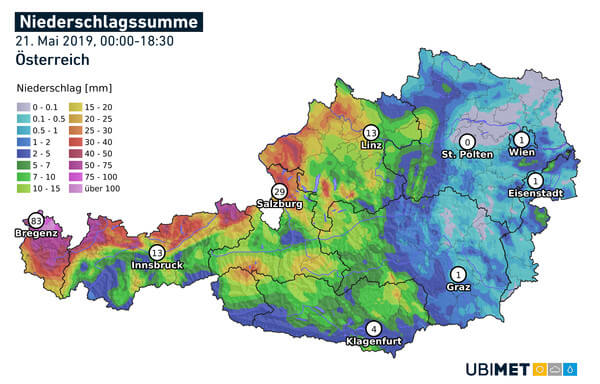 Analysierte Regenmenge Dienstag @ UBIMET