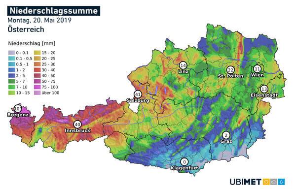 Analysierte Regenmenge Montag @ UBIMET