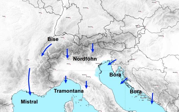 Typische Bezeichnungen für Nordwest bis Nordostwind im Alpenraum.