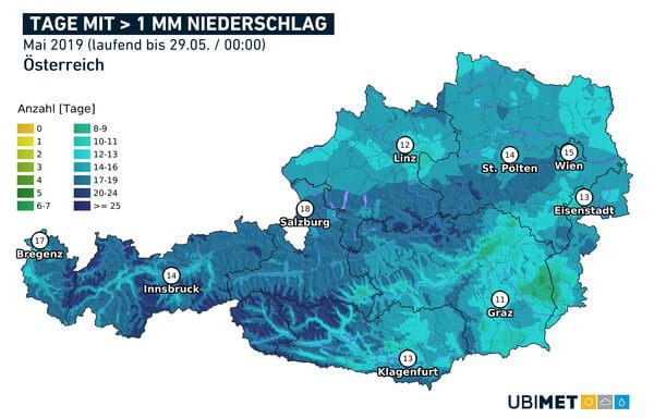 Tage mit Niederschlag > 1 l/m² @ UBIMET