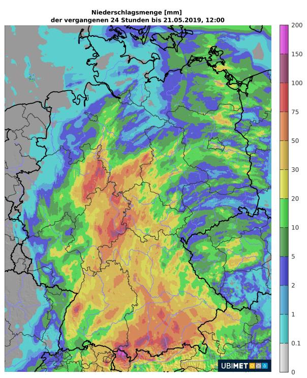 Regenmengen der letzten 24 Stunden. © UBIMET