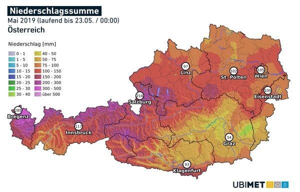 Große Regenmengen im Mai bislang in Österreich.