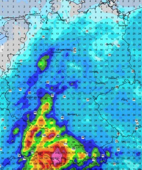Vor allem im Süden und Südwesten große Regenmengen.