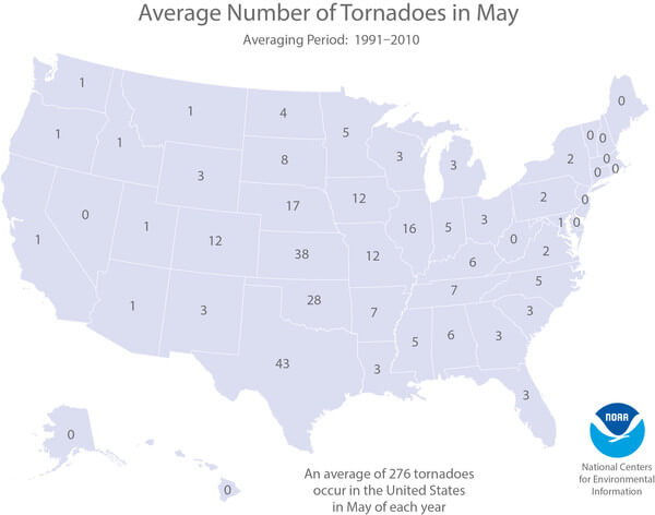 Durchschnittliche Anzahl an Tornados im Mai