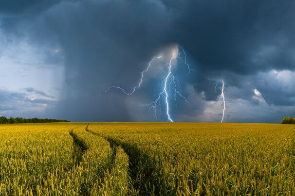 Schauer und Gewitter mit Blitz