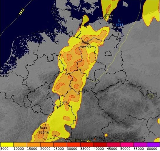 Die Regionen mit den besten Bedingungen für Gewitter am Montagabend. © ECMWF / UBIMET