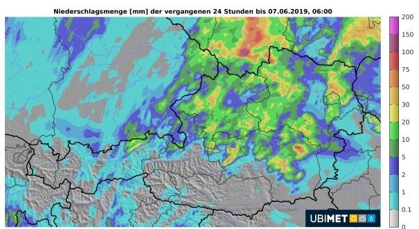 Analyse der 24h-Regenmenge bis Freitagmorgen