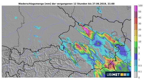 Niederschlagsanalyse von Donnerstag. © UBIMET