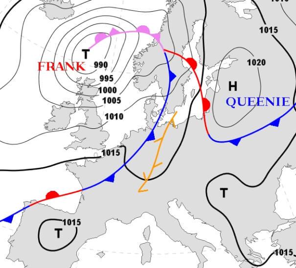 Die Bodenwetterkarte für Montagnachmittag. © DWD/FU Berlin
