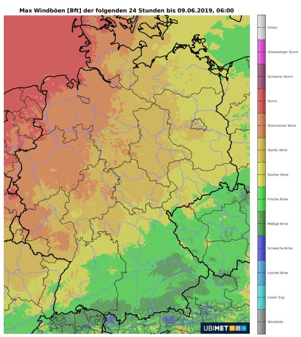Im Westen und Nordwesten gibt es stürmische Böen