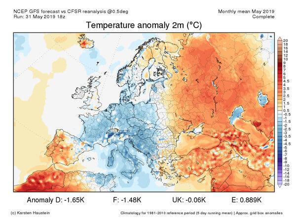 In Mittel- und Südeuropa war der Mai deutlich zu kalt.