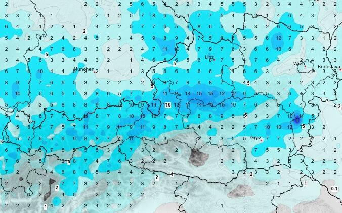 Niederschlagsprognose bis Donnerstagnacht