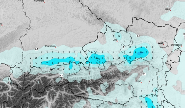 ICON-Niederschlagsprognose für Donnerstagnachmittag und -abend. © UBIMET/DWD