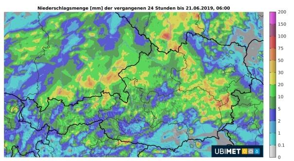 Regensummen bis Donnerstagmorgen. © UBIMET