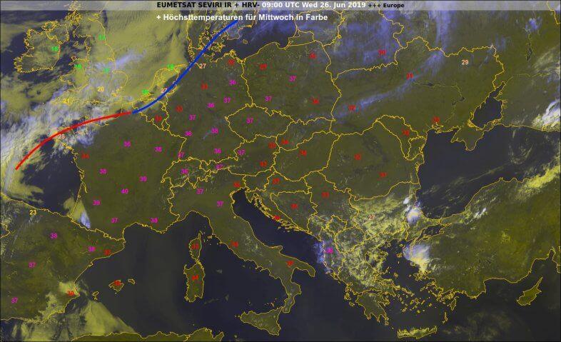 Satellitenbild von 11 Uhr sowie eingezeichnet die Höchsttemperaturen für Mittwoch @ ECMWF, UBIMET