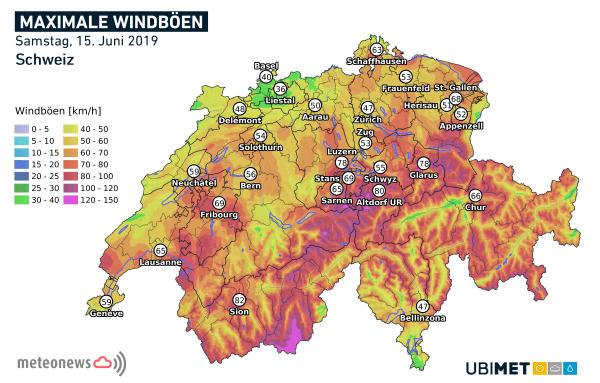 Stürmischer Samstag in der Schweiz