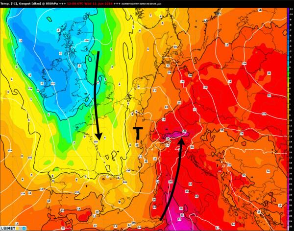 Wetterlage/Temperatur in 1500 m Höhe am Mittwoch @ UBIMET, ECMWF