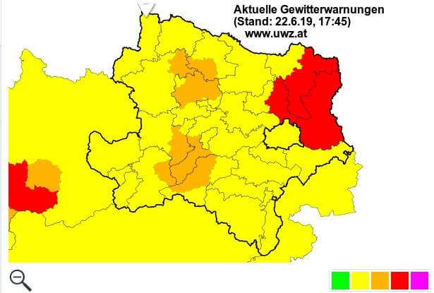 Aktuelle Gewitterwarnungen im Osten. © Österreichische Unwetterzentrale