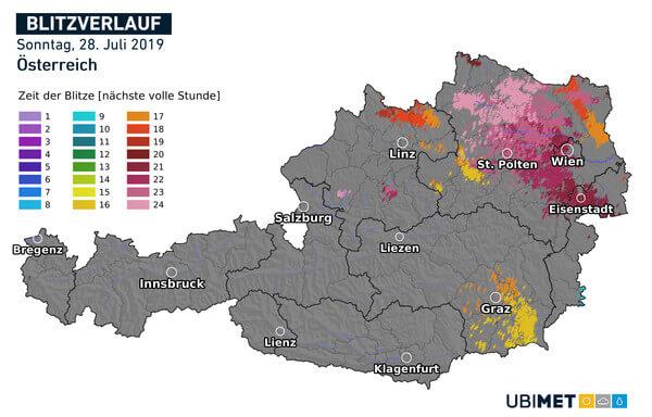 Die meisten Blitze gab es in Wien und in Niederösterreich.
