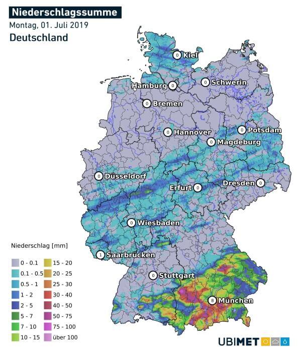 Niederschlagsanalyse von Montag. © UBIMET