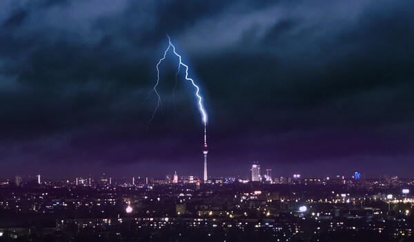 Gewitter über Berlin.