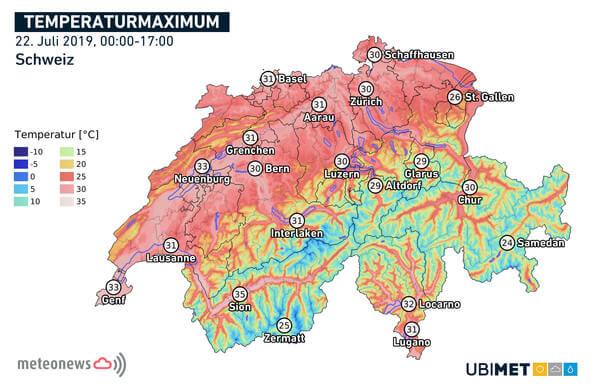 Höchstwerte der Temperatur am Montag, den 22.07.2019 @ UBIMET, meteonews