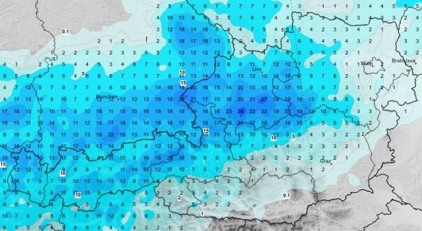 Niederschlagsprognose bis Montagnacht
