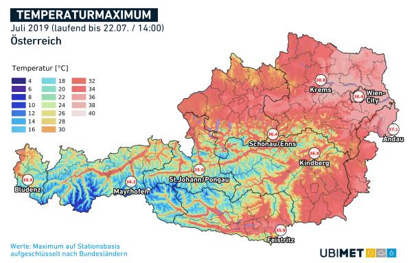Bisherige Höchstwerte pro Bundesland im Juli