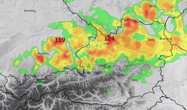 Prognose der Windspitzen am Montag. © UBIMET RACE