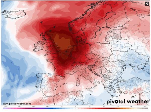 Hitzeblase über Westeuropa am Donnerstag.