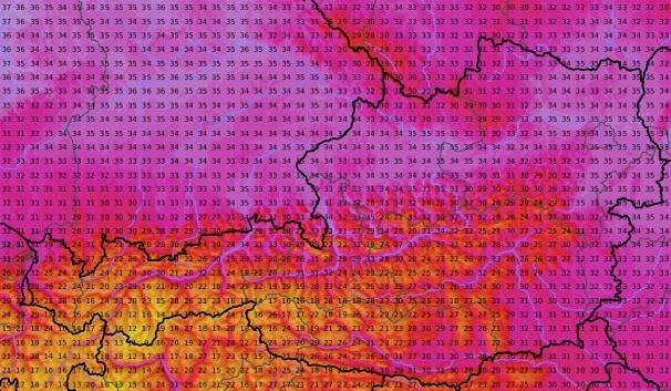 Prognose der Höchstwerte am Donnerstag von ICON. © DWD / UBIMET