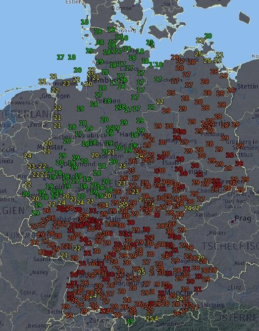 Temperaturen um 19 Uhr. Daten: DWD / UBIMET