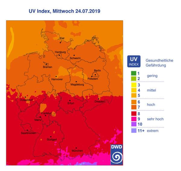 Besonders im Süden sehr hohe UV-Belastungen.
