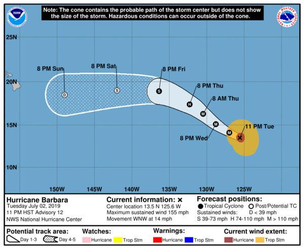 Die weitere Zugbahn von Hurrikan Barbara auf dem Pazifik.