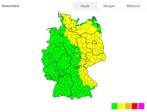 Der Osten Deutschlands ist vorgewarnt.