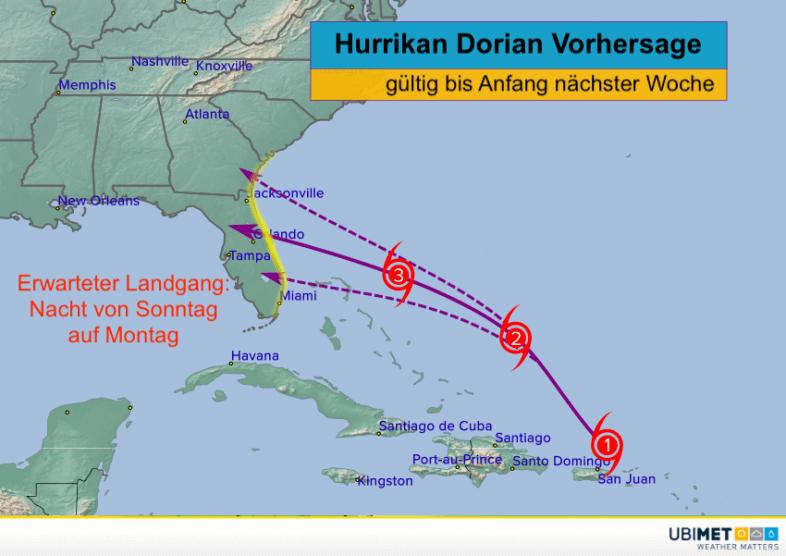 Hurrikan Dorian prognostizierte Zugbahn