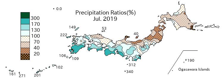 Niederschlagsanomalien in Japan für Juli 2019 - JMA
