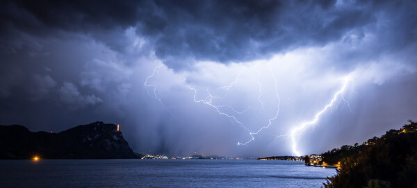 Lightning above the lake Lucerne. Storm in Switzerland. @ https://stock.adobe.com