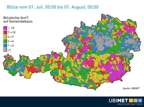 Blitzdichte auf Gemeindebasis im Juli 2019 @ UBIMET