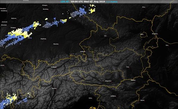 Registrierte Blitze von 11 Uhr @ UBIMET, nowcast