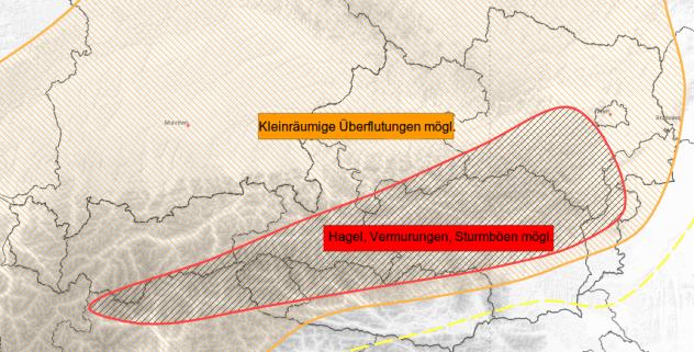Gewitterpotential am Montag (Stand: Sonntag, 11 Uhr) © UBIMET