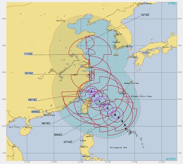 Joint Typhoon Warning Center - Warnung ausgegeben am 07.08.2019 um 23 Uhr MESZ © JTWC - https://www.metoc.navy.mil/jtwc/jtwc.html