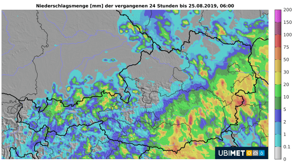 24h-Niederschlagsanalyse. © UBIMET