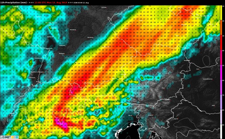 12-stündige akkumulierte Niederschlagmengen bis Mitternacht nach dem deutschen Modell ICON - DWD, UBIMET