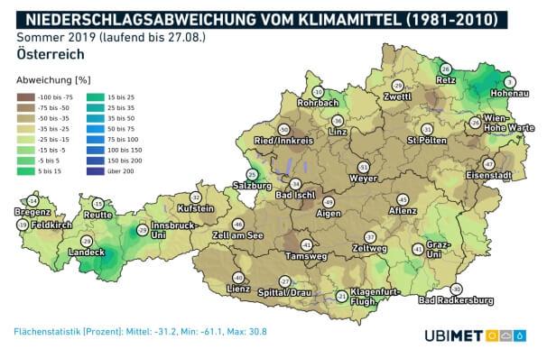 Niederschlagsabweichung im Sommer 2019. © UBIMET